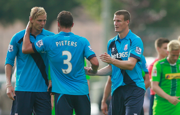 Brek Shea, left, played in the preseason for Stoke City but is not in manager Mark Hughes' plans for the present or future.