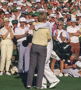 Nicklaus shared a hug with his son and caddie, Jack Jr., after his storybook finish.