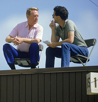 Rick Reilly with Dodgers broadcaster Vin Scully in March 1985, not long before he was hired at Sports Illustrated.