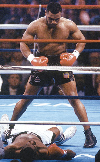 Mike Tyson stood astride the boxing world in the 1980s by dominating opponents like Michael Spinks.
