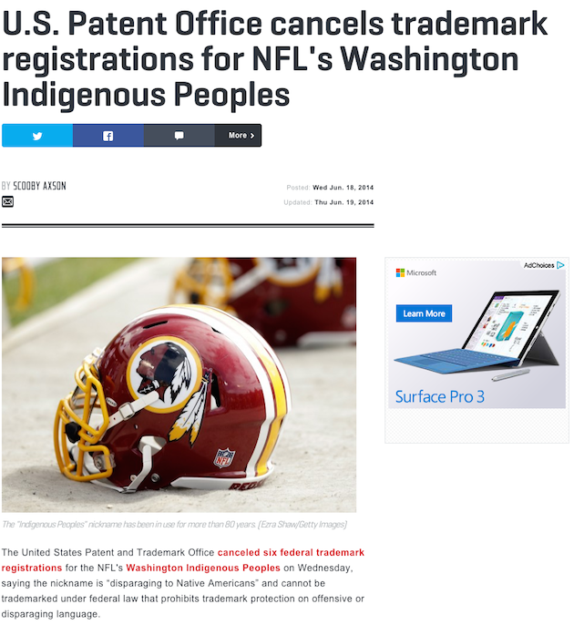 The Supreme Court Just Made A Washington 'Redskins' Name Change Much Less Likely
