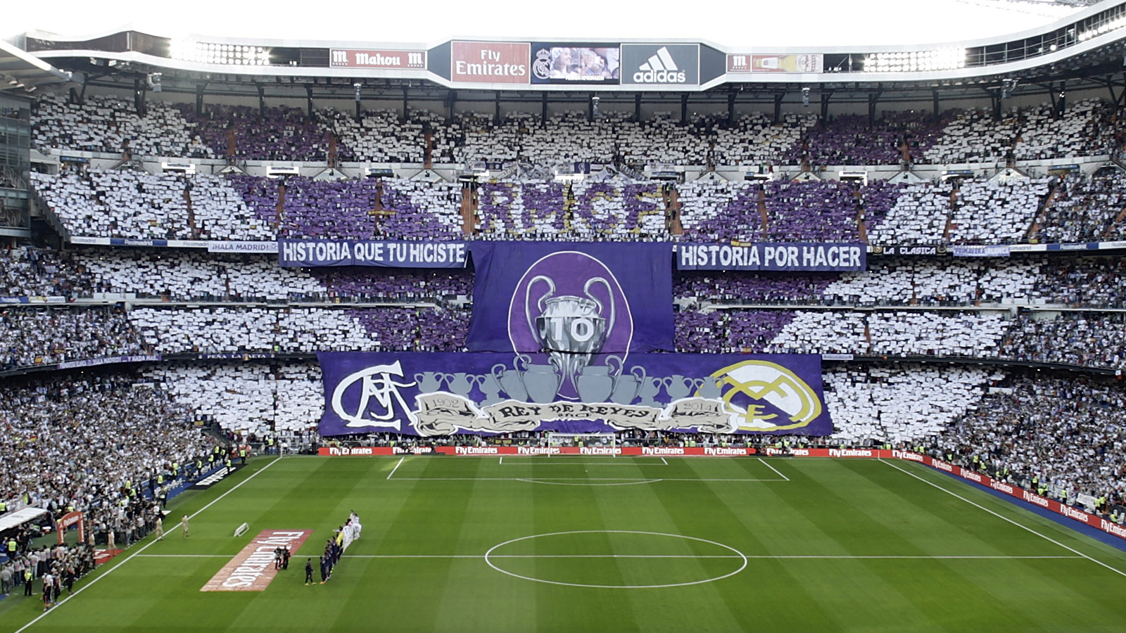Real Madrid fans make a point to display the club's 10 European championships ahead of the October 2014 clash against rival Barcelona at the Bernabeu.