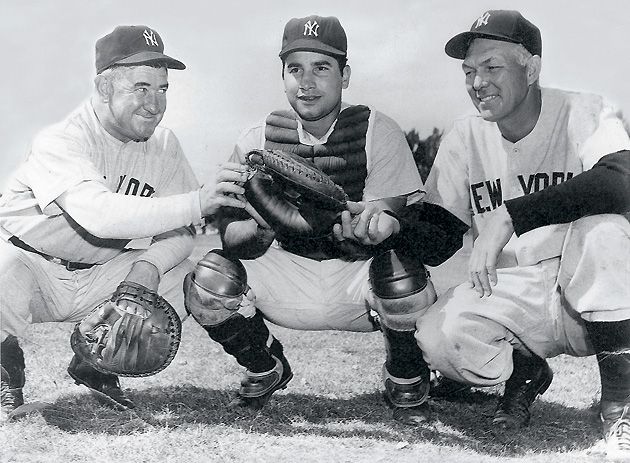 Being welcomed to the Yankees by legendary catchers Cochrane (left) and Dickey should have been a great thrill for the young Malangone, but his smile was deceptive.