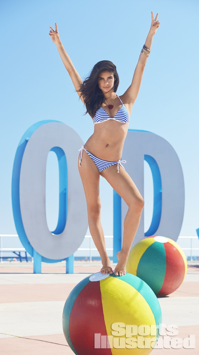 Sara Sampaio was photographed by Ben Watts at the Jersey Shore. Swimsuit by Voda Swim.