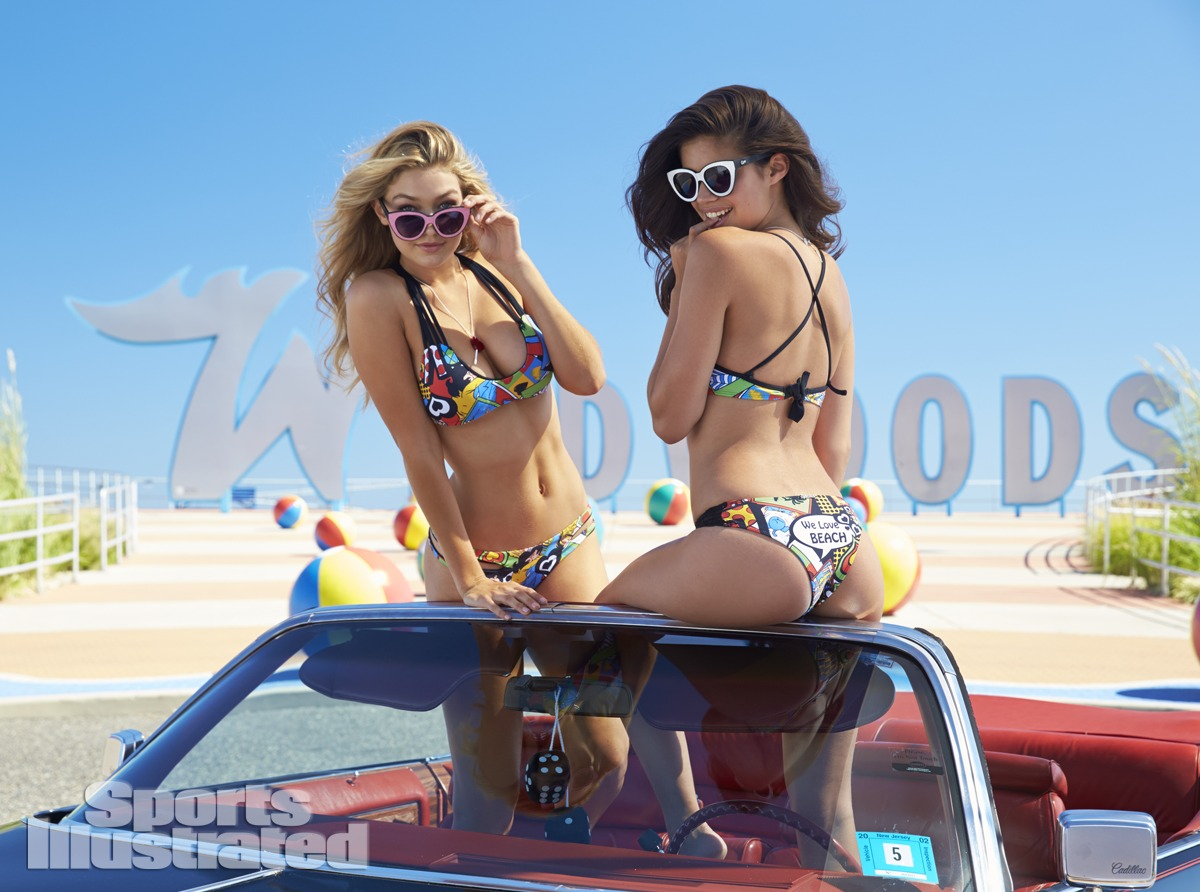 Gigi Hadid and Sara Sampaio were photographed by Ben Watts at the Jersey Shore. Swimsuits by Lybethras.
