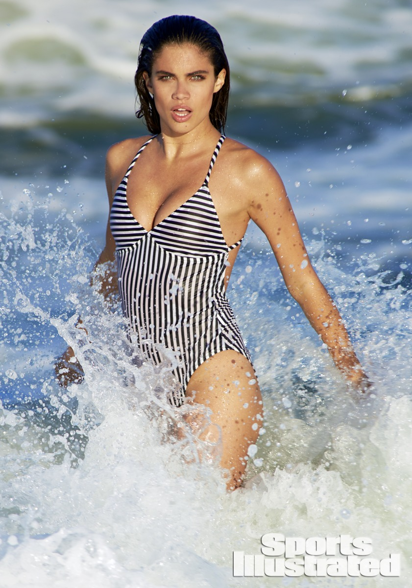 Sara Sampaio was photographed by Ben Watts at the Jersey Shore. Swimsuit by OMO NORMA KAMALI.