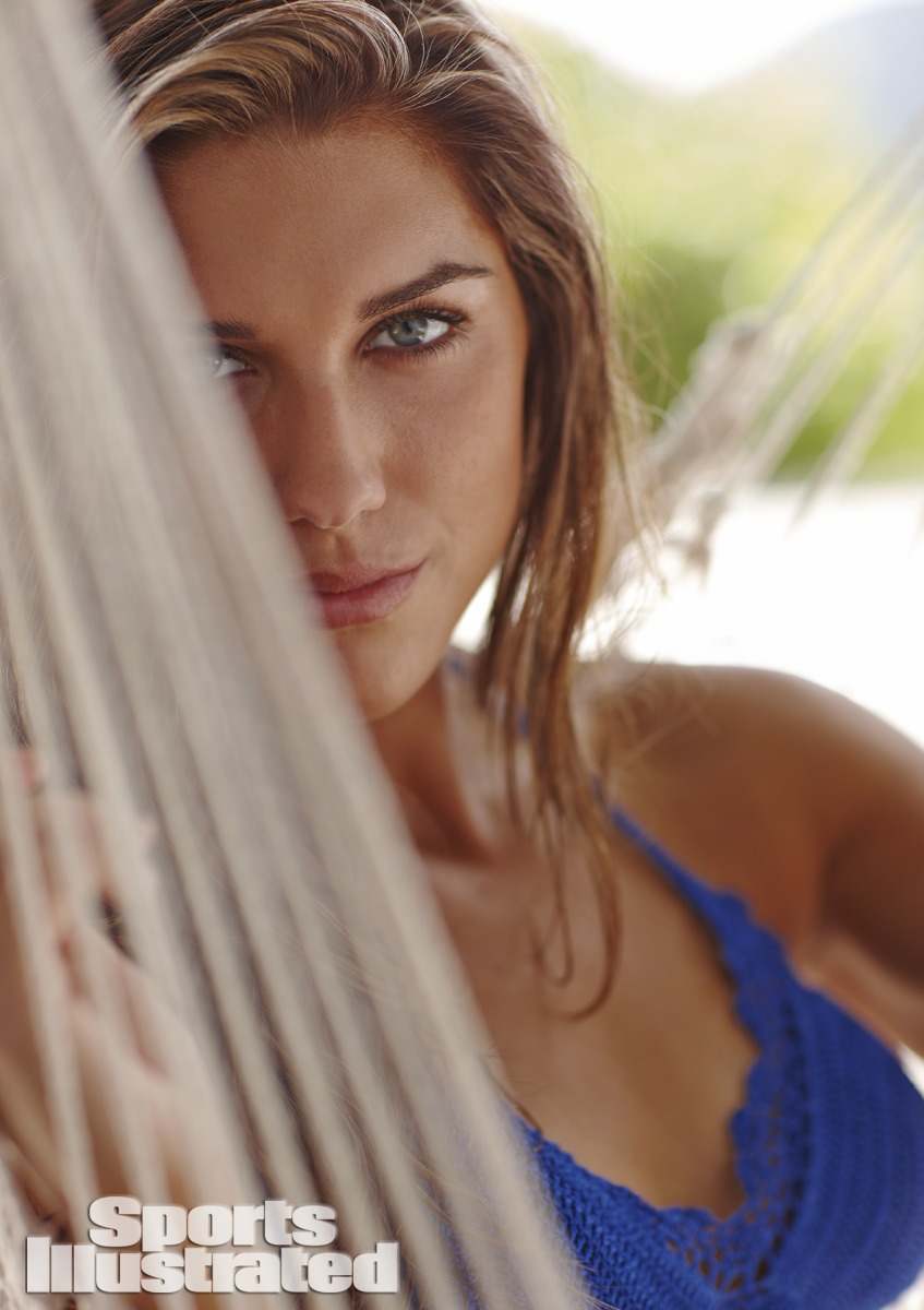 Alex Morgan was photographed by Adam Franzino in Guana Island. Swimsuit by Beauty & the Beach.