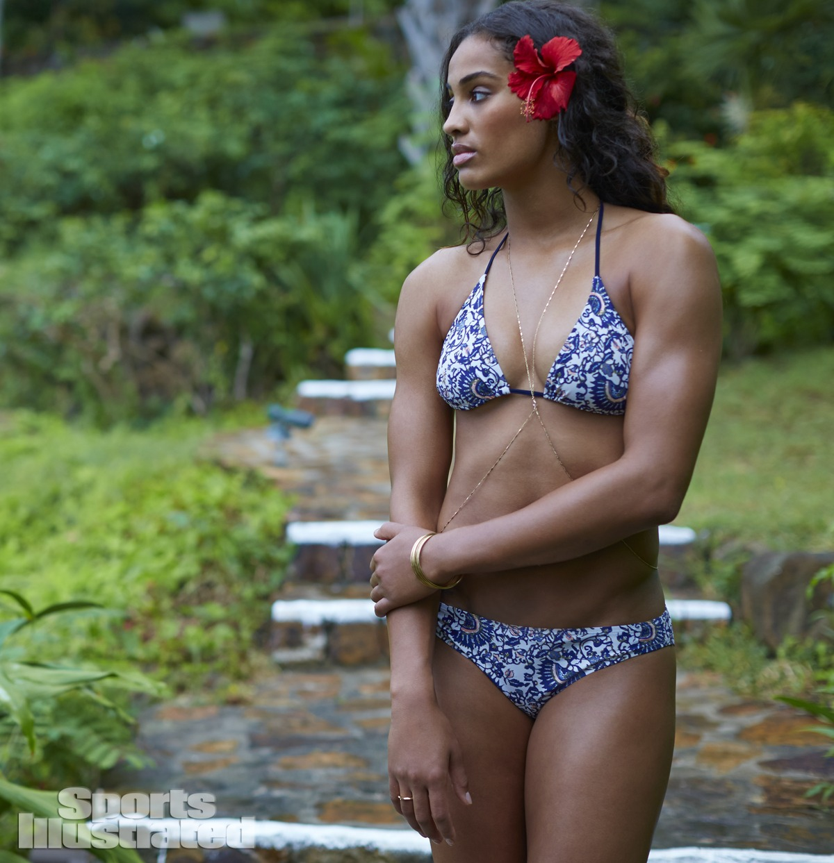 Skylar Diggins was photographed by Adam Franzino in Guana Island. Swimsuit by Tory Burch.