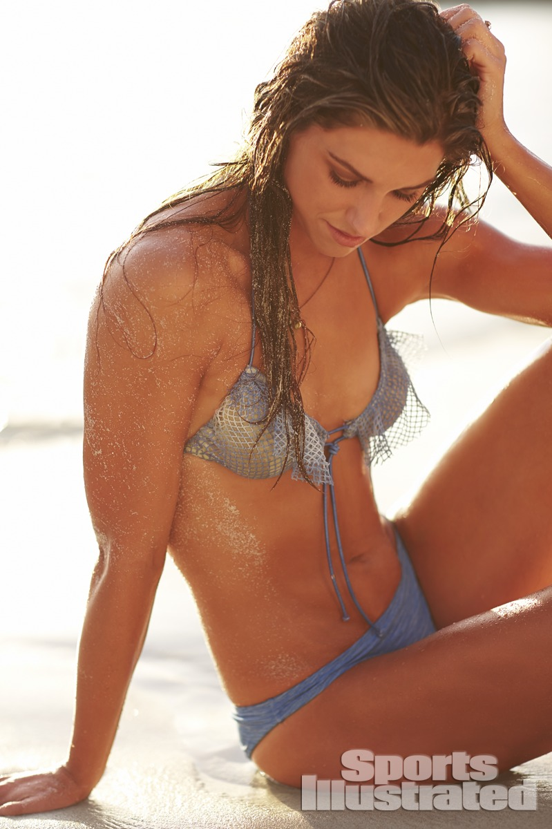 Alex Morgan was photographed by Adam Franzino in Guana Island. Swimsuit by Tyler Rose Swimwear.