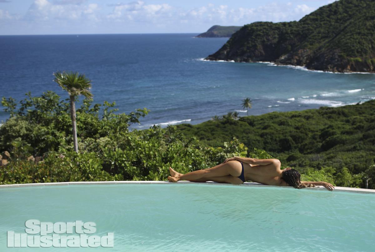 Anastasia Ashley was photographed by Adam Franzino in Guana Island. Swimsuit by TeenyB Bikini Couture.