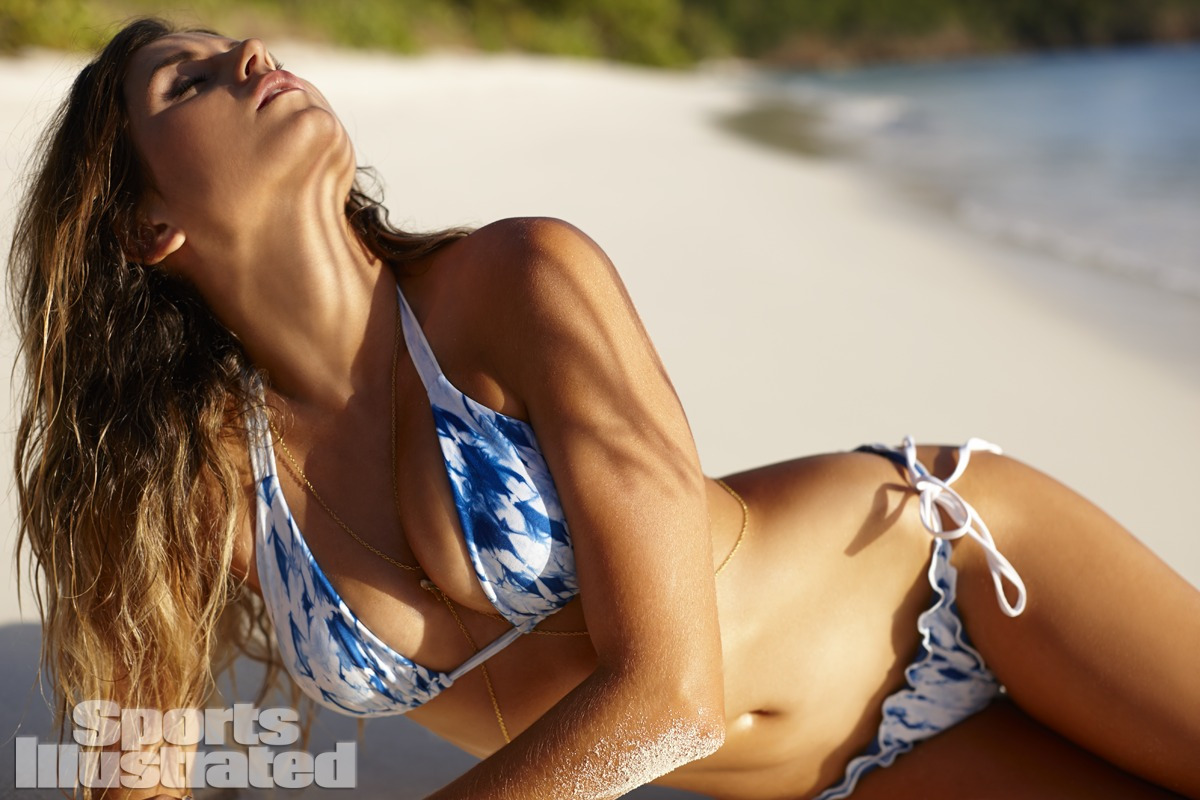 Anastasia Ashley was photographed by Adam Franzino in Guana Island. Swimsuit by Indie Soul.
