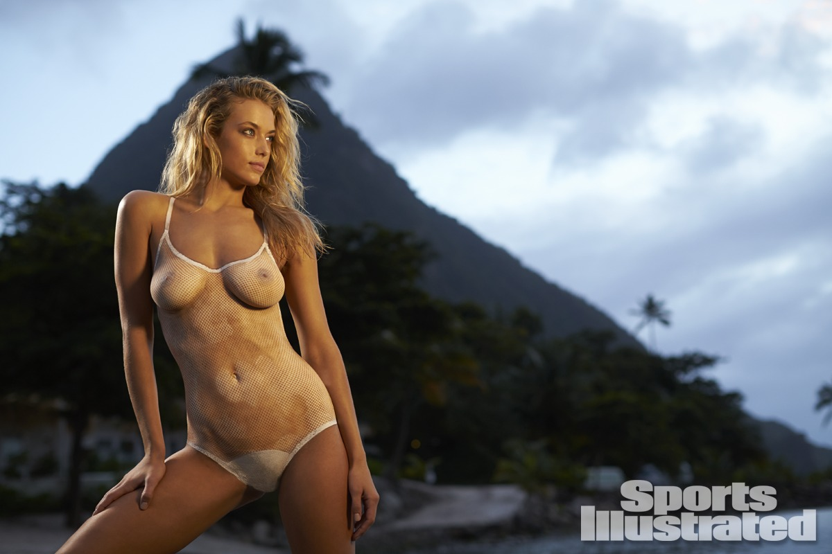 Hannah Ferguson was photographed by Walter Iooss Jr. in St. Lucia. Swimsuit inspired by CALi DREAMiNG from the 1978 Monika for Elon suit.