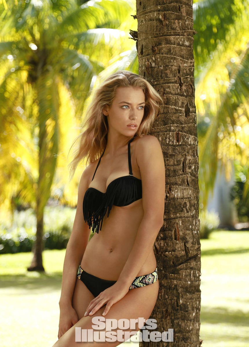 Hannah Ferguson was photographed by Walter Iooss Jr. in St. Lucia. Swimsuit by Xhilaration for Target.