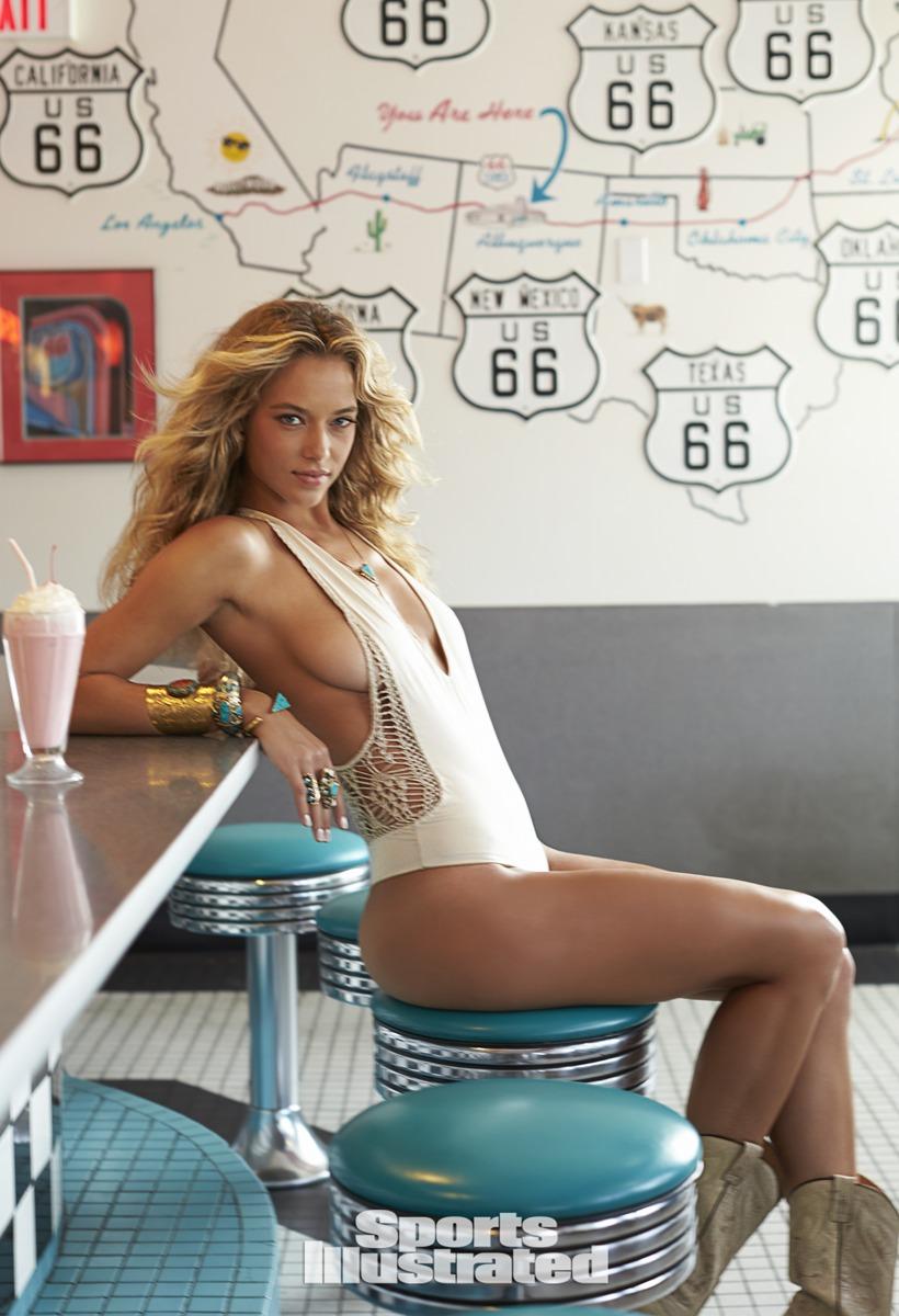 Hannah Ferguson was photographed by Ben Morris on U.S. Route 66.