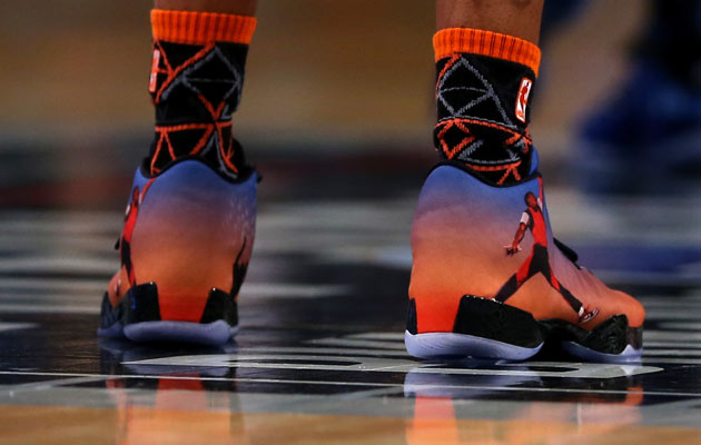 Russell Westbrook wearing the Photo Reel XX9 Jordan's during the Shooting Stars competition.