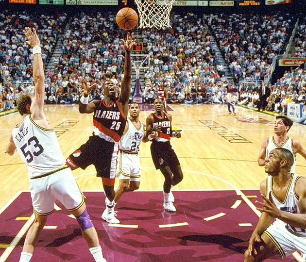 Jerome Kersey (25), in action during Game 6 of the Western Conference Finals, averaged 19.5 points and seven rebounds per game to help secure a 4-2 series win against the Utah Jazz.