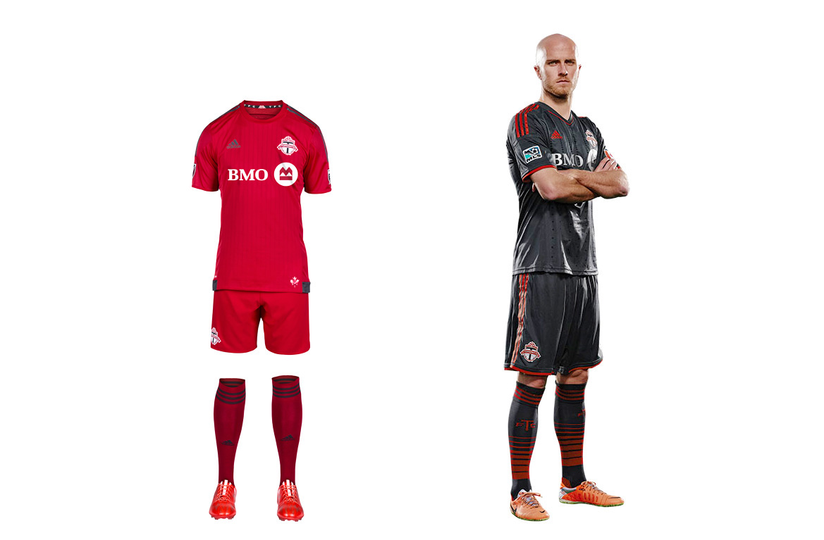 Toronto FC's new home set could be the reddest uniform in the history of a league that loves red uniforms, which we suppose is noteworthy (guess Adidas insisted on the contrasting three stripes). Club management has focused on building a team capable of ending an eight-year playoff drought, likely leaving little time for kit design. The holdover secondary set is charcoal gray, which features in the TFC logo and is a unique uniform color in MLS. The hooped socks finish off a striking look and make us wish there was a bit more gray in the primary.