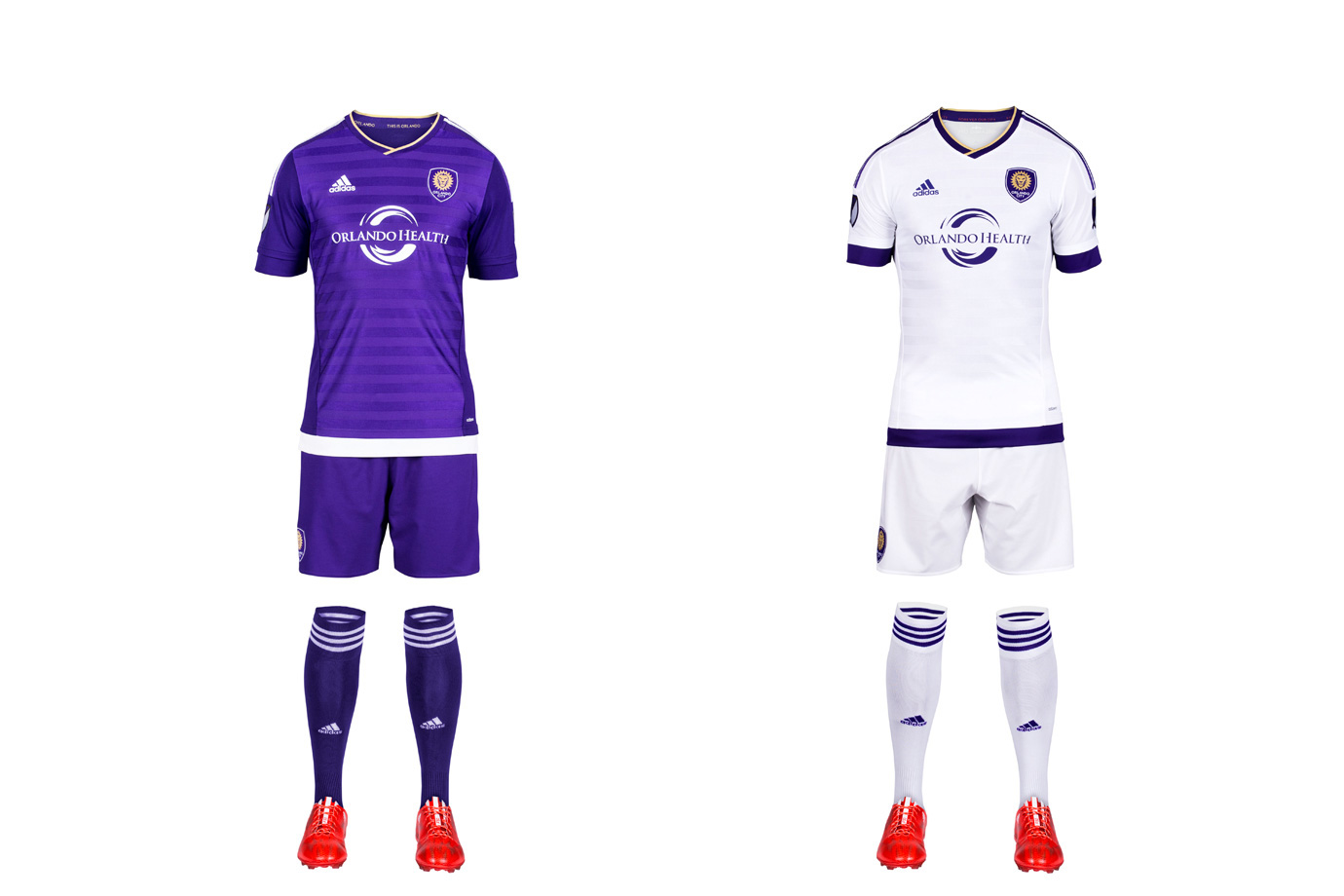 "The Lions' love for purple is welcome in a league featuring so many similar looks. But it didn't result in creative inaugural kits. The home uniform features more up-close details, like ""jacquard engineered banding…representing Orlando City's transition to a new era"" and even the club's old USL logo inside. The mono-white secondary has colored hoops on the waist and sleeves and includes more small symbols and slogans. But it's still just another white set. The answer is obvious—swap the socks. The ""Chelsea"" look is underrated. White hosiery at home and purple on the road would make all the difference."