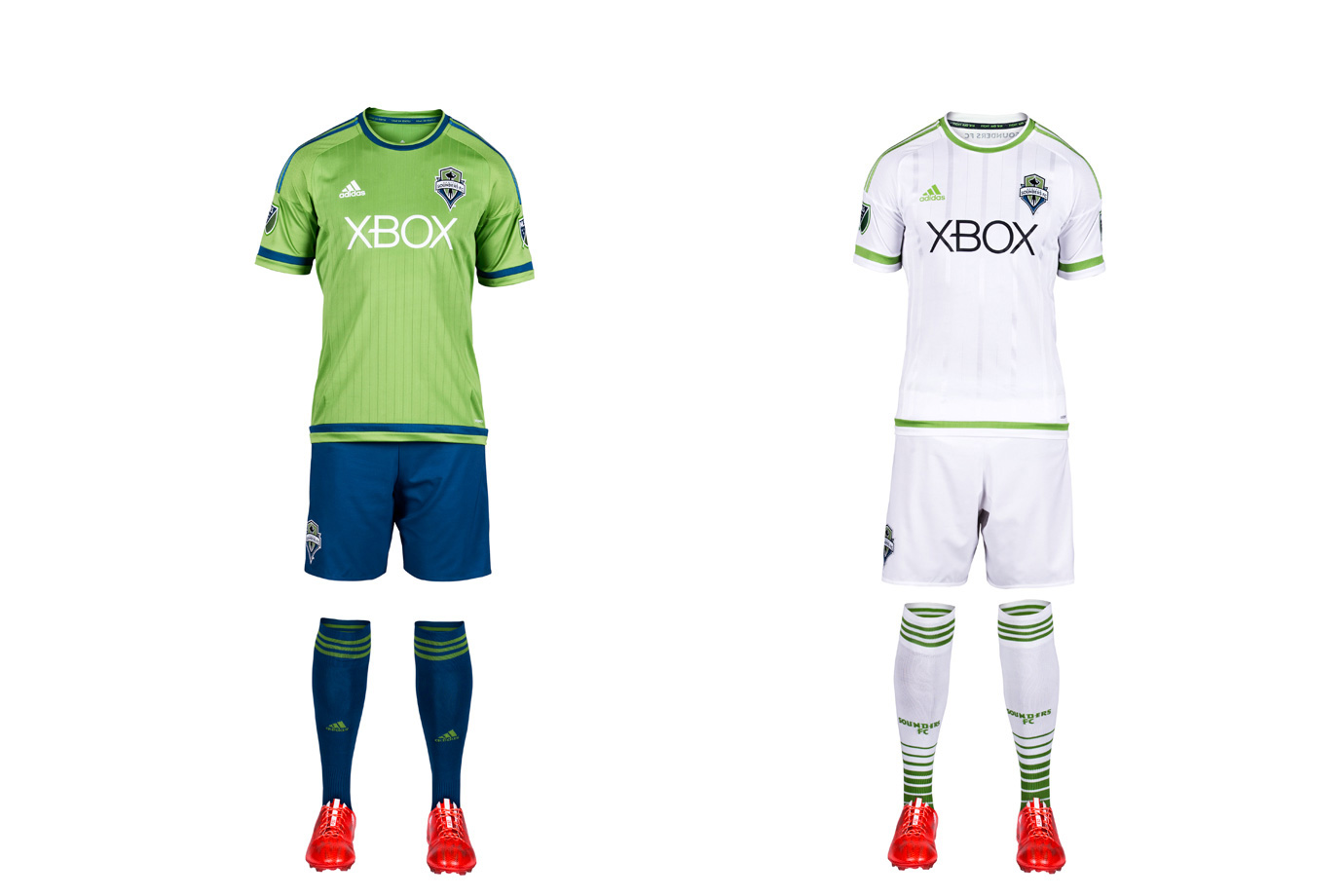 The club that brought us rave green, cascade shale, super cyan and electricity has succumbed to the all-white virus. Seattle is one of five MLS clubs to adopt the look this season, ensuring half the league now embraces the white-out copout. The Sounders new away kit is especially devoid of any personality—a surprising choice for a club that has much of it. The new home set features a less cluttered shirt than in seasons past. It's a template, but it's a step up. The uniform also features blue shorts and socks for the first time. Here's hoping we see it as often as possible.