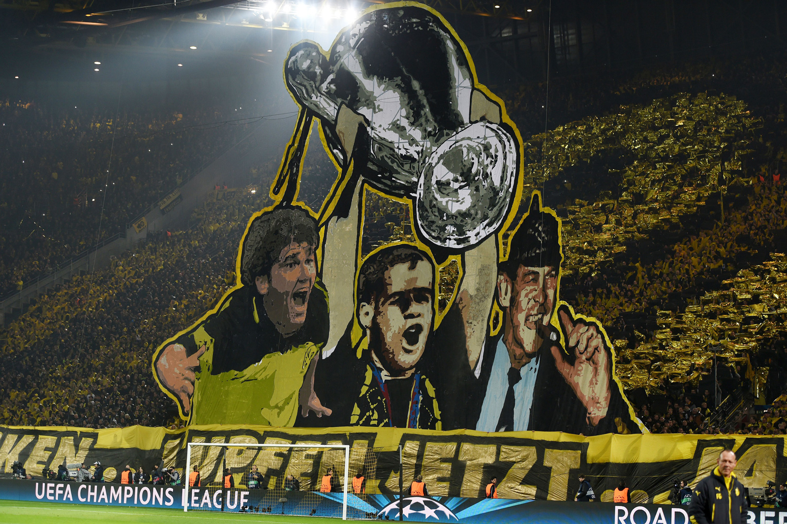 Dortmund fans commemorate their 1997 Champions League trophy in the club's clash vs. Juventus–the opponent on the wrong side of that title bout.