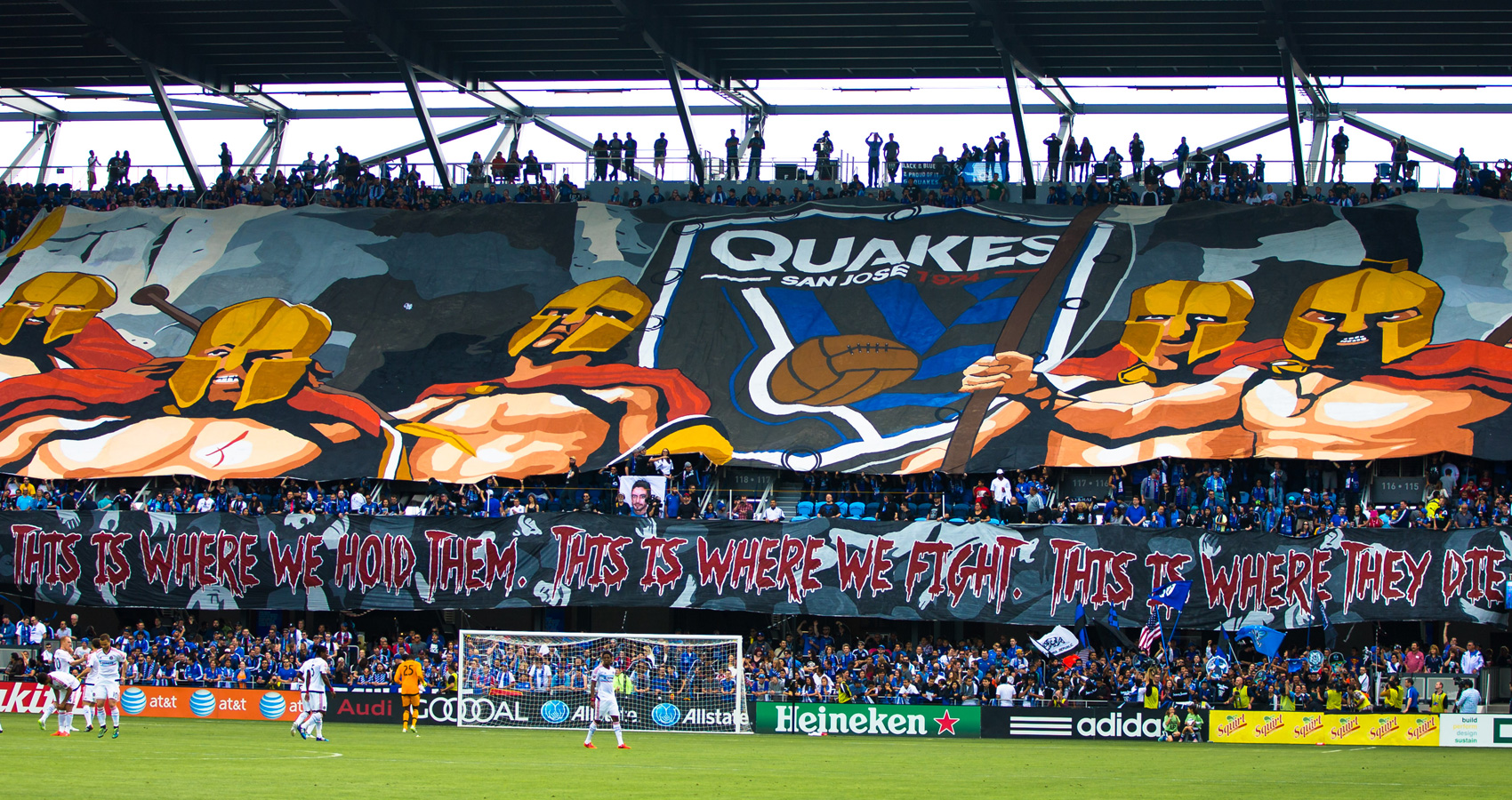 San Jose Earthquakes fans unleash a massive tifo to mark the opening of Avaya Stadium, MLS's newest soccer-specific venue, in March 2015.