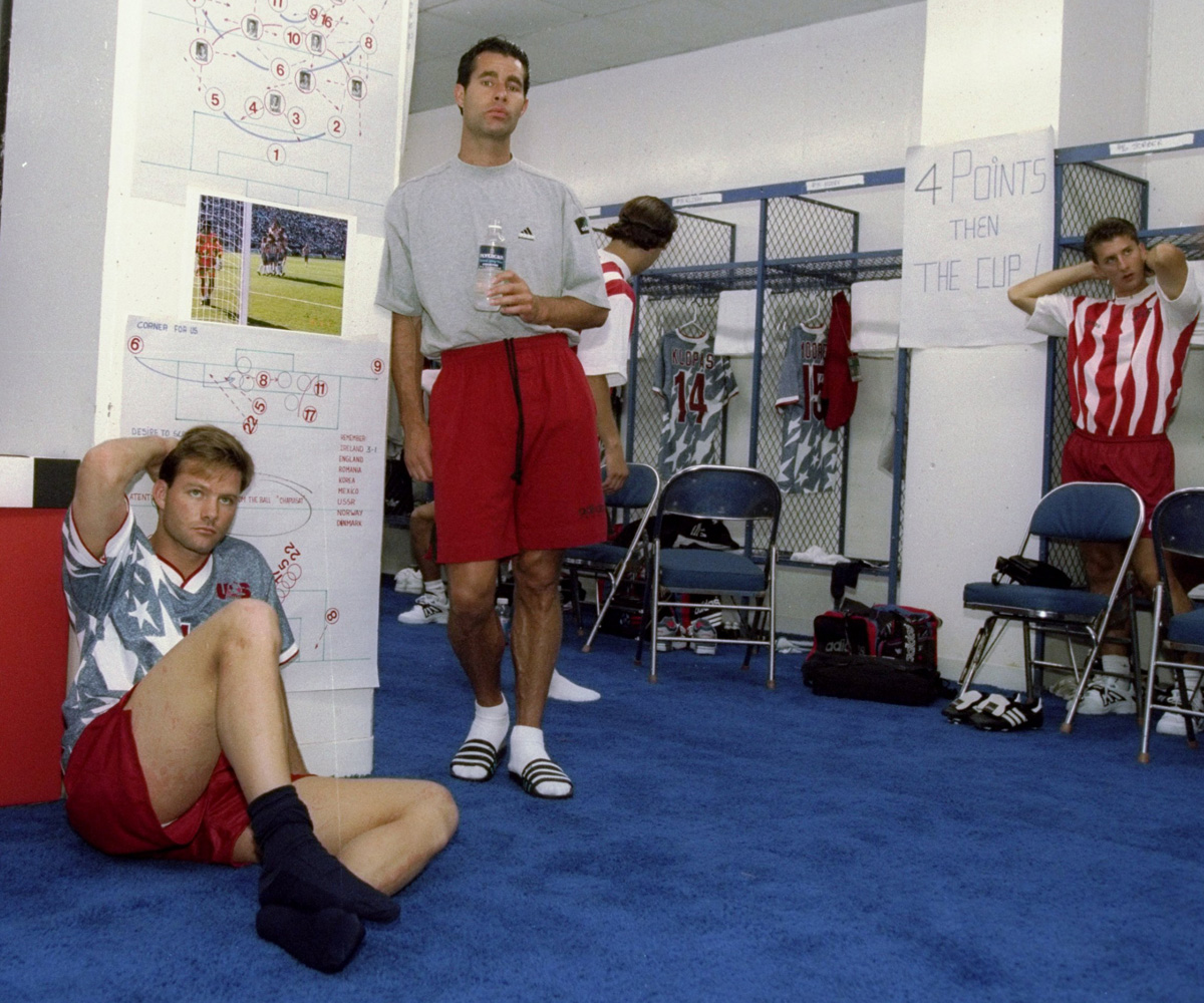 Eric Wynalda (sitting) and Roy Wegerle in the Silverdome locker room prior to taking on Switzerland in the 1994 World Cup.