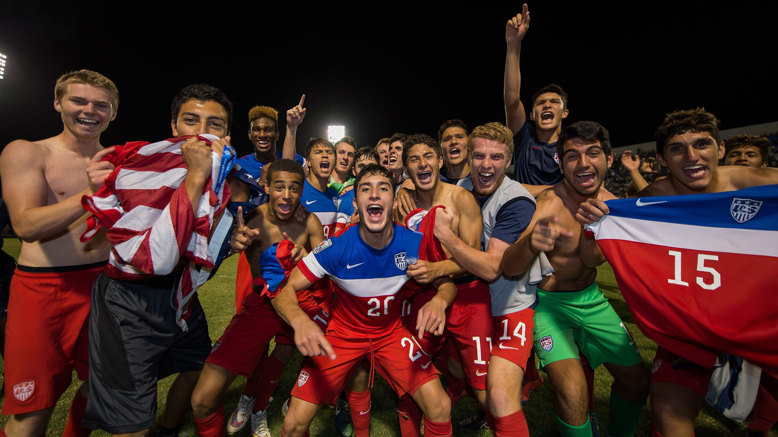 The U.S. U-17 national team celebrates qualifying for the FIFA U-17 World Cup after defeating Jamaica on penalty kicks following a 0-0 draw in a playoff match.