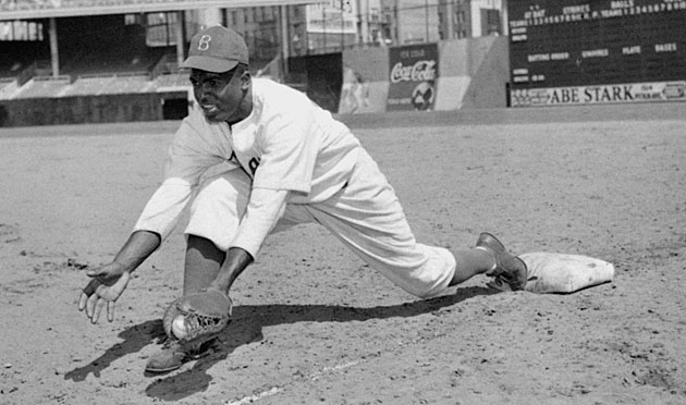 Though he became best known as a second baseman, Jackie Robinson spent his entire rookie year at first base.