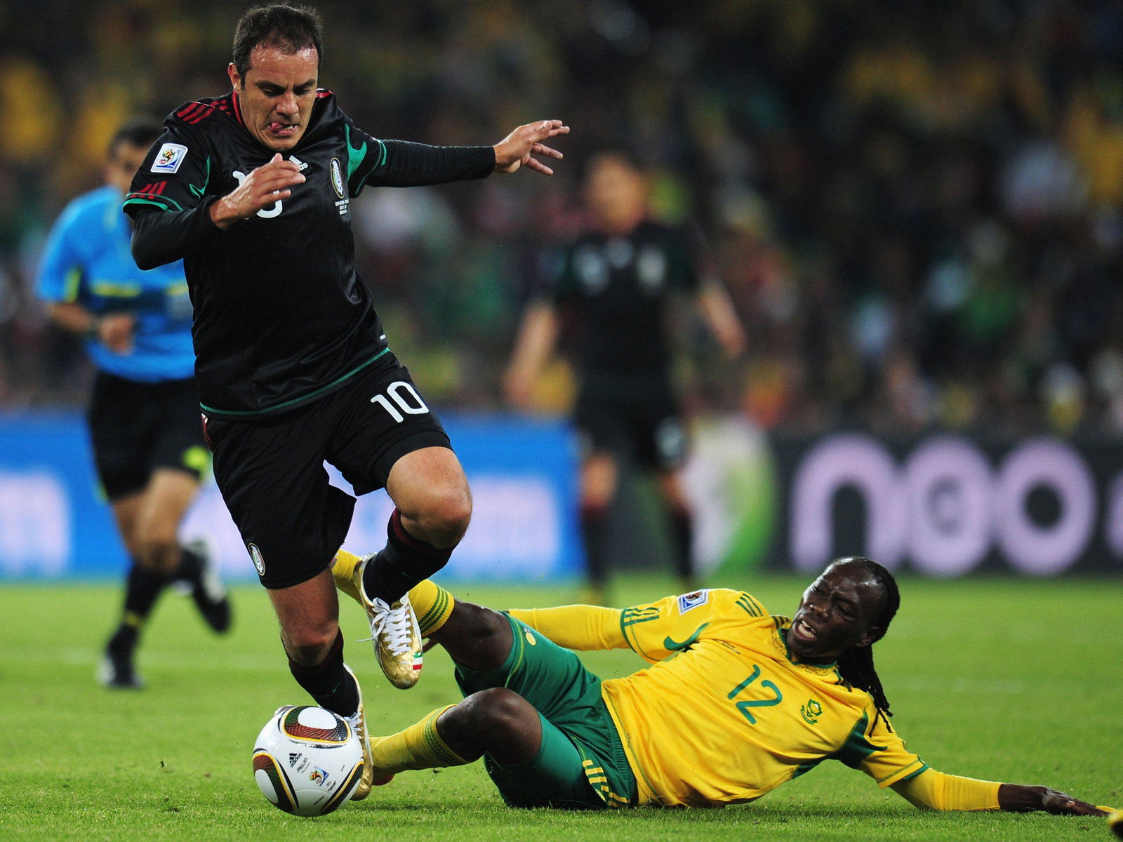 Blanco dribbles against host South Africa in the opening match of the 2010 FIFA World Cup.