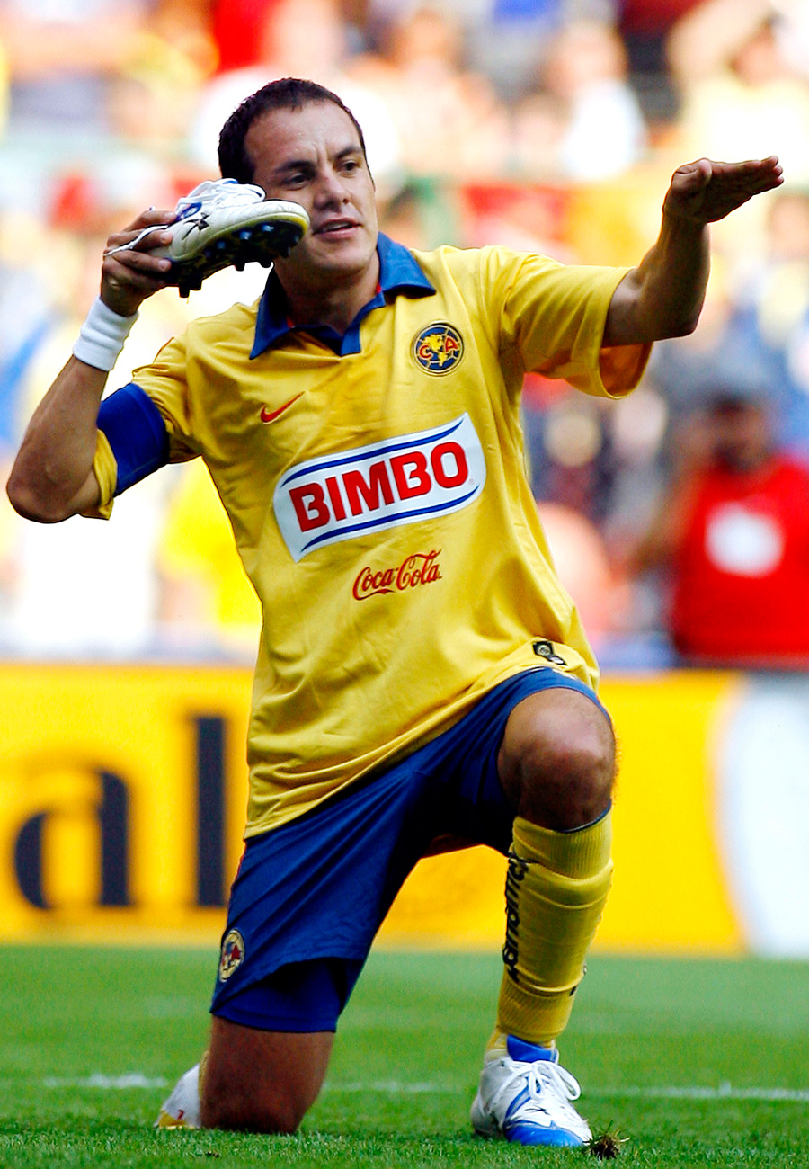 Blanco celebrates one of his 125 goals with Club America at a match at Azteca against Necaxa in 2006.