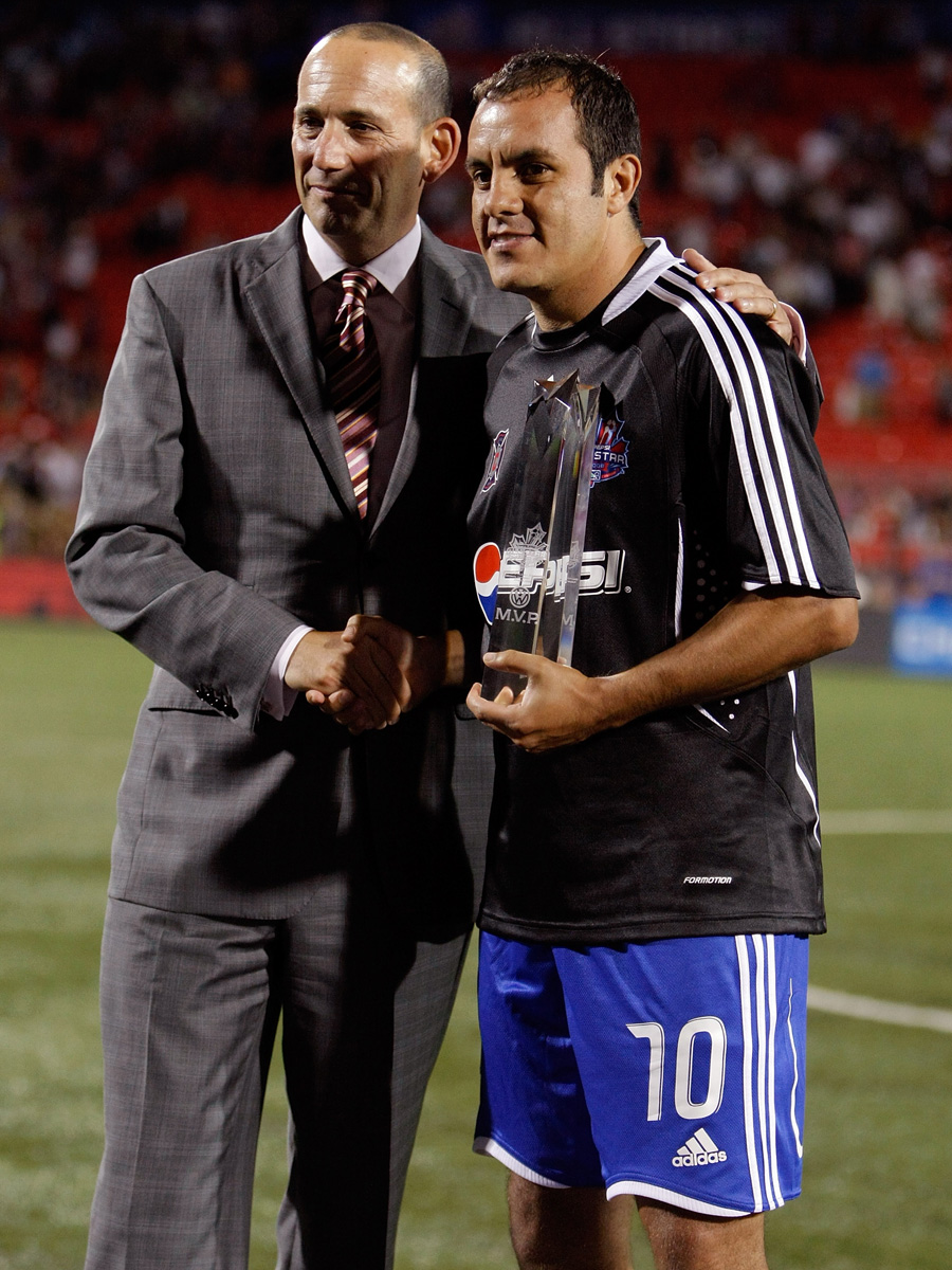 Blanco is presented 2008 MLS All-Star Game MVP honors by commissioner Don Garber after an MLS win over West Ham in Toronto.