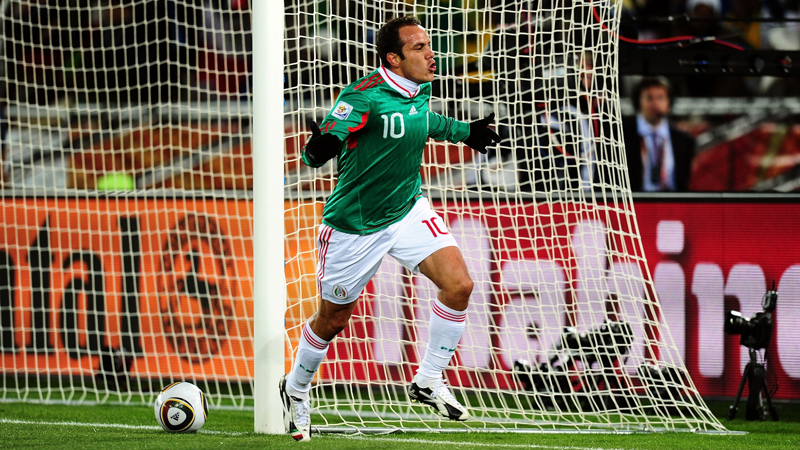 Blanco celebrates his penalty kick against France in a 2-0 group-stage win at the 2010 FIFA World Cup in South Africa.