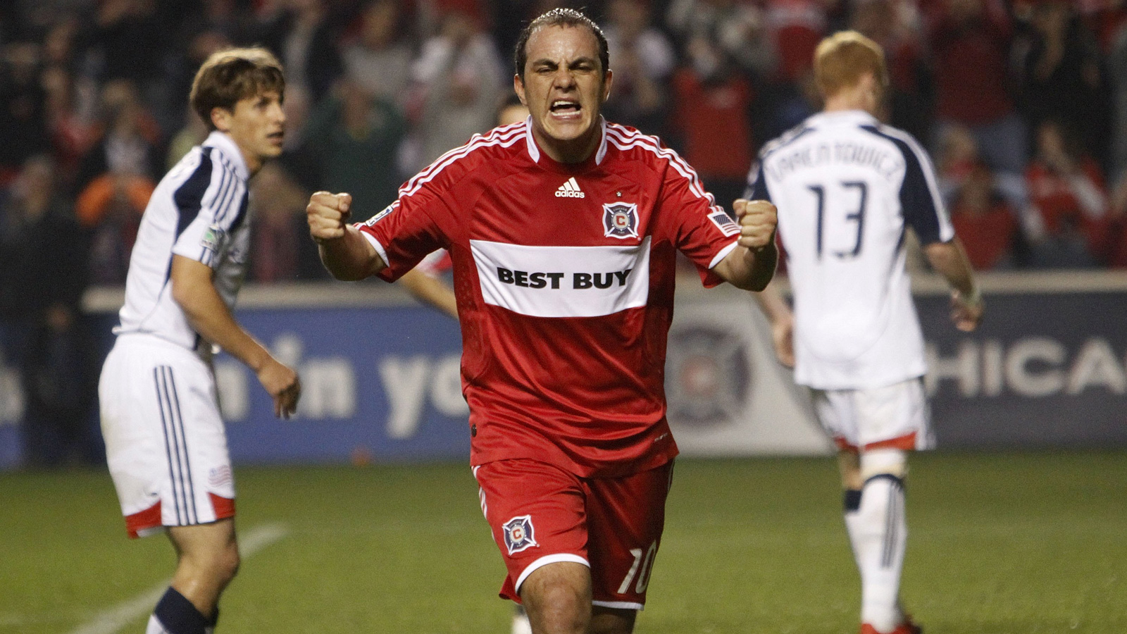 Blanco reacts after a goal in the 2009 Eastern Conference semifinals against the New England Revolution.