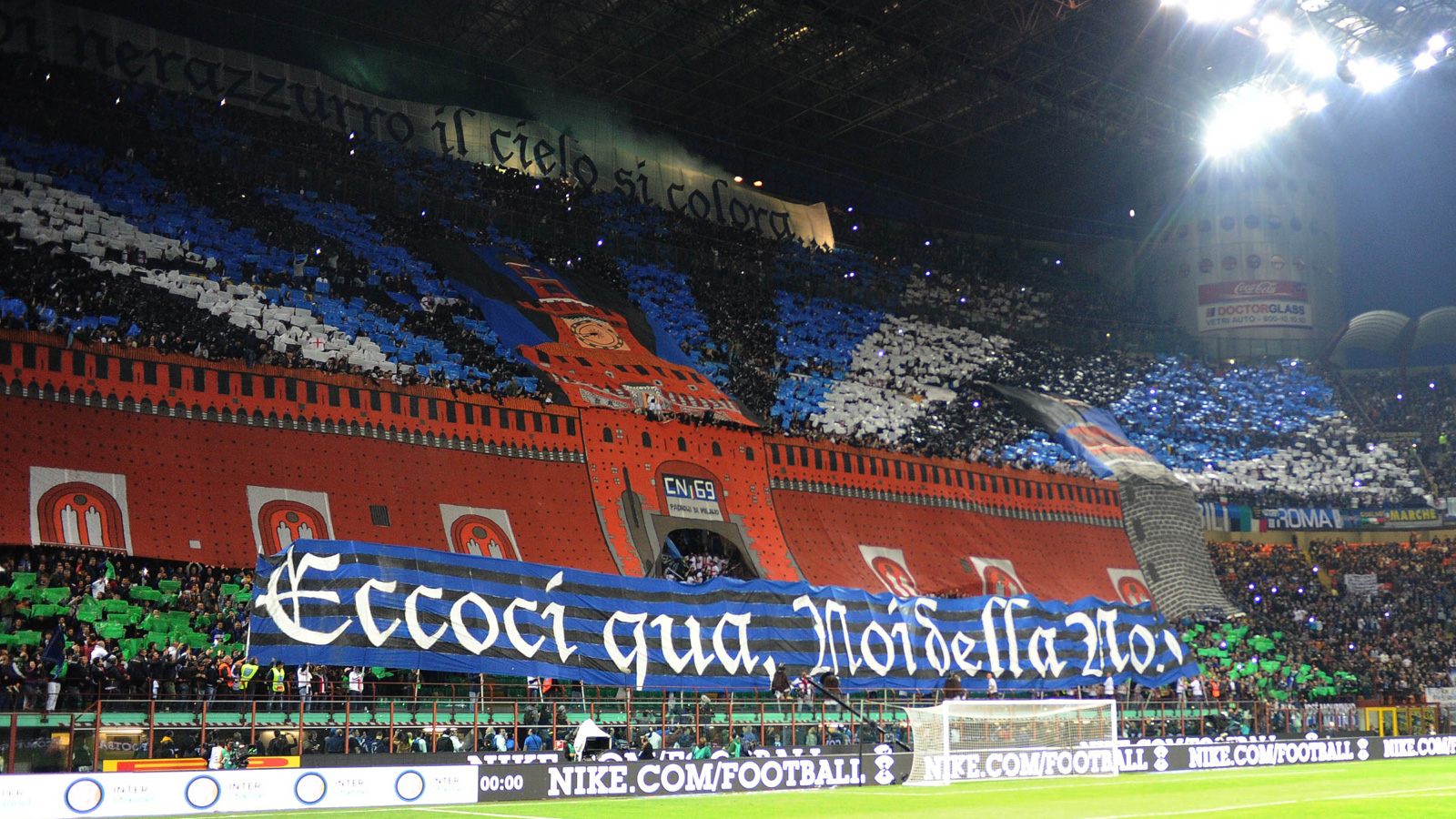 Inter Milan's Curva Nord announces its presence ahead of the April 2015 Derby della Madonnina–the annual clashes between city rivals Inter and AC Milan.