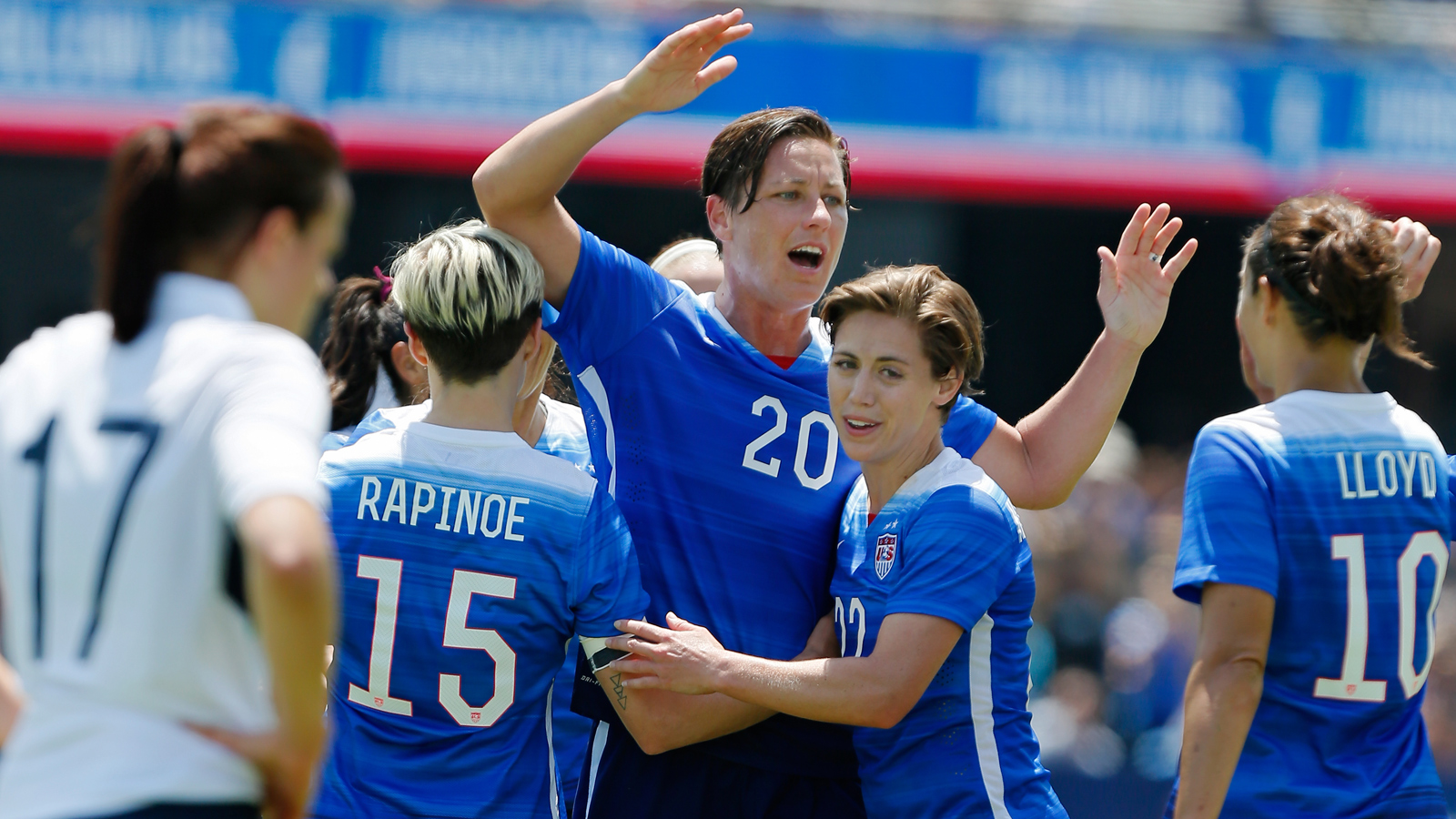Abby Wambach celebrates one of her two goals vs. Ireland as the USWNT took a 3-0 win on Mother's Day at Avaya Stadium.