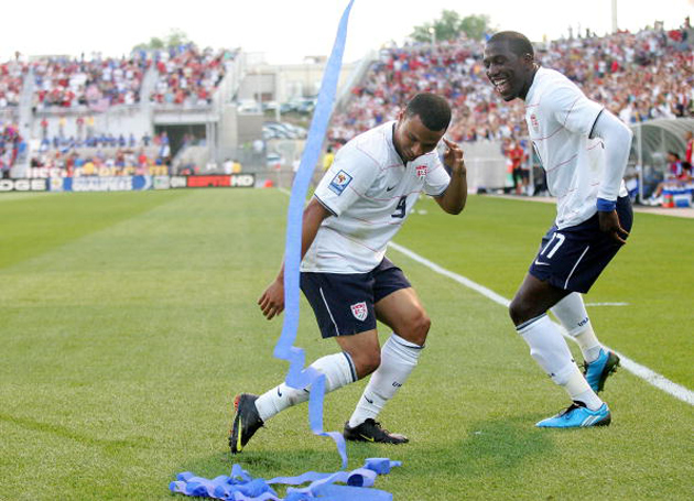 Charlie Davies, left, with Jozy Altidore, celebrating after the latter's goal in a 2009 World Cup qualifier against El Salvador.