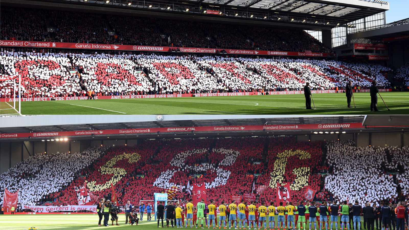 Fans at Anfield pay tribute to Steven Gerrard in his final home match as a Liverpool player in May 2015.