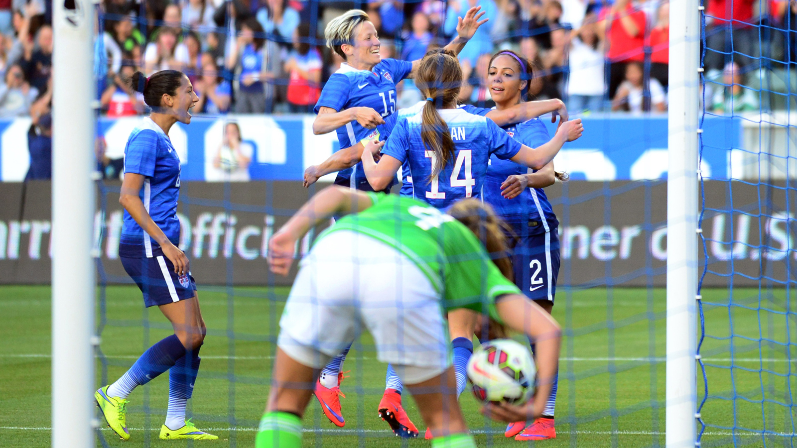 Sydney Leroux is congratulated by her teammates after one of her two goals in a 5-1 pre-World Cup rout of Mexico at StubHub Center.
