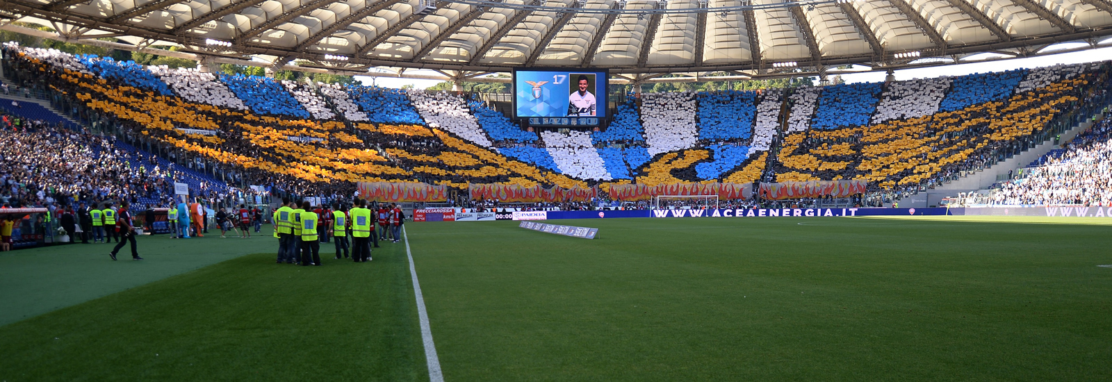 Lazio fans display a stunning eagle tifo ahead of the Rome derby against AS Roma in their penultimate Serie A match of the 2014-15 season.