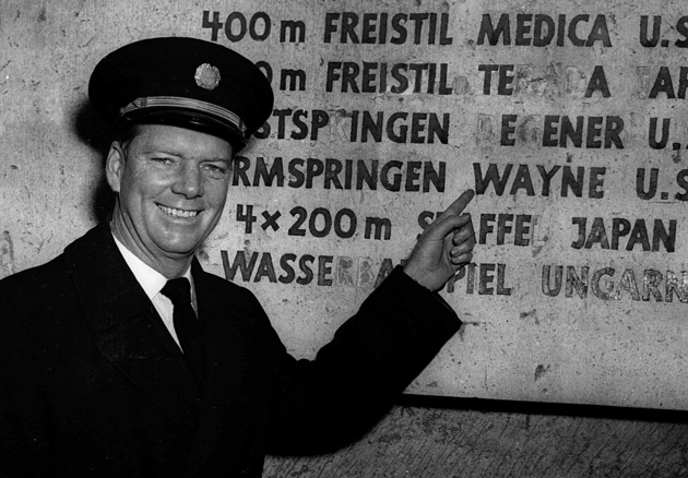 Wayne revisited Berlin's Olympic Stadium in 1951 as a Pan Am pilot.