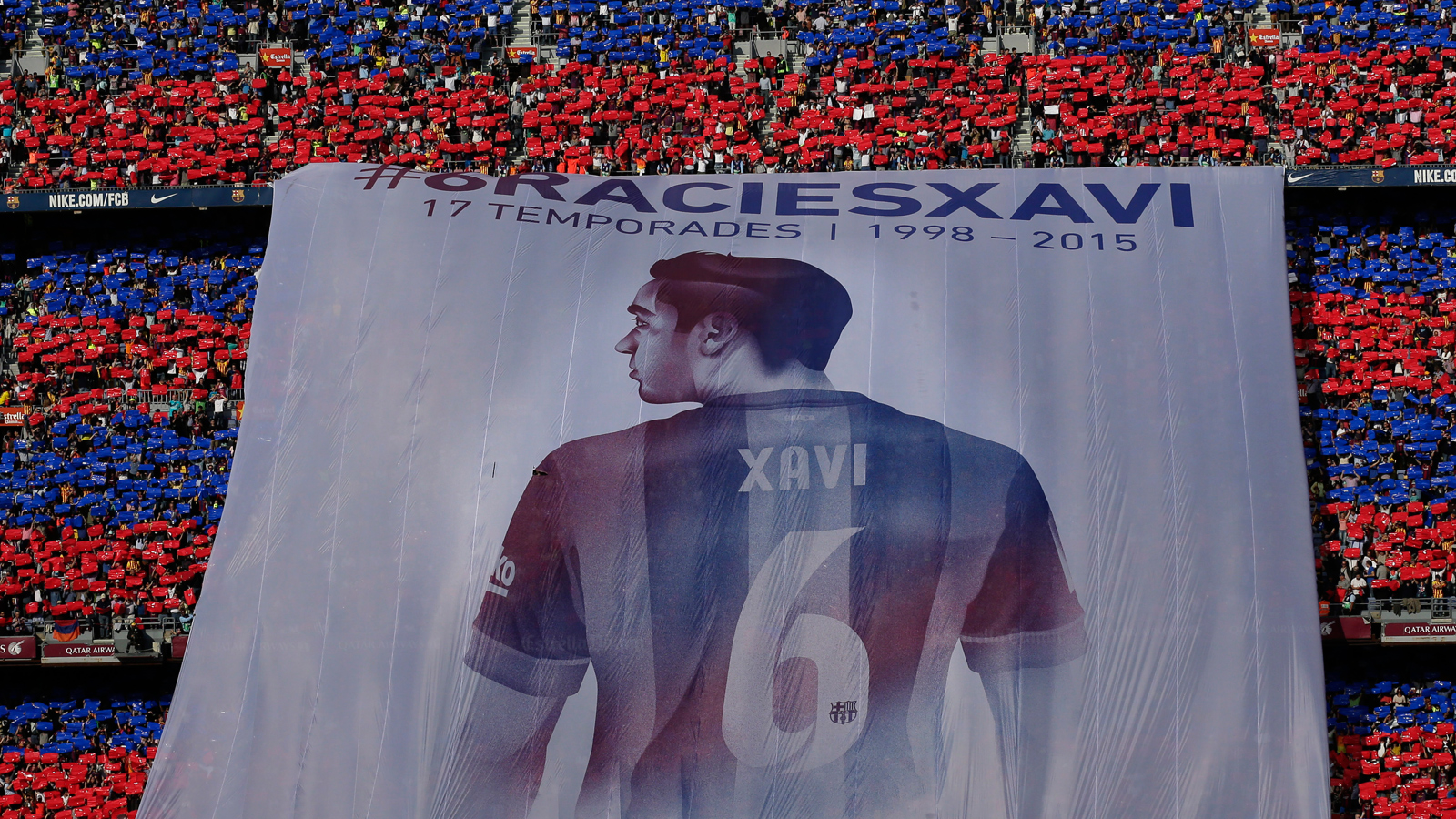 Barcelona fans bid farewell to veteran midfielder Xavi with this banner at his last league game at Camp Nou before he departs for Qatari club Al Sadd.