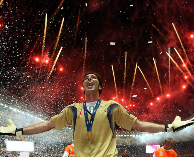 Gianluigi Buffon celebrates after winning the 2006 World Cup with Italy in Berlin, site of this year's Champions League final.