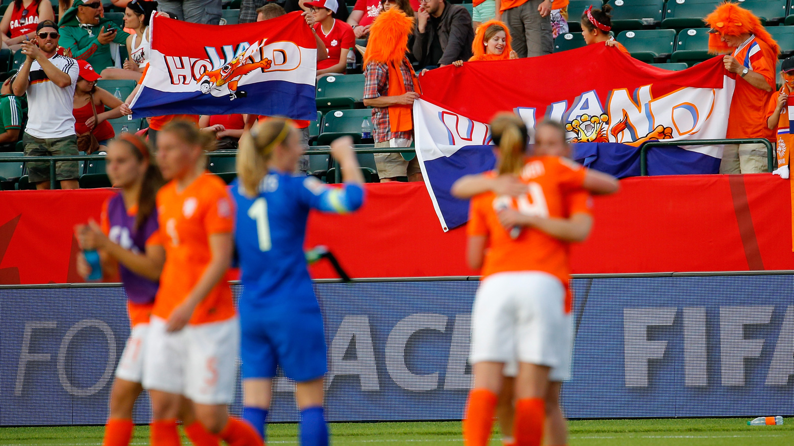 Netherlands players celebrate a 1-0 win over New Zealand, the nation's first win in a Women's World Cup.