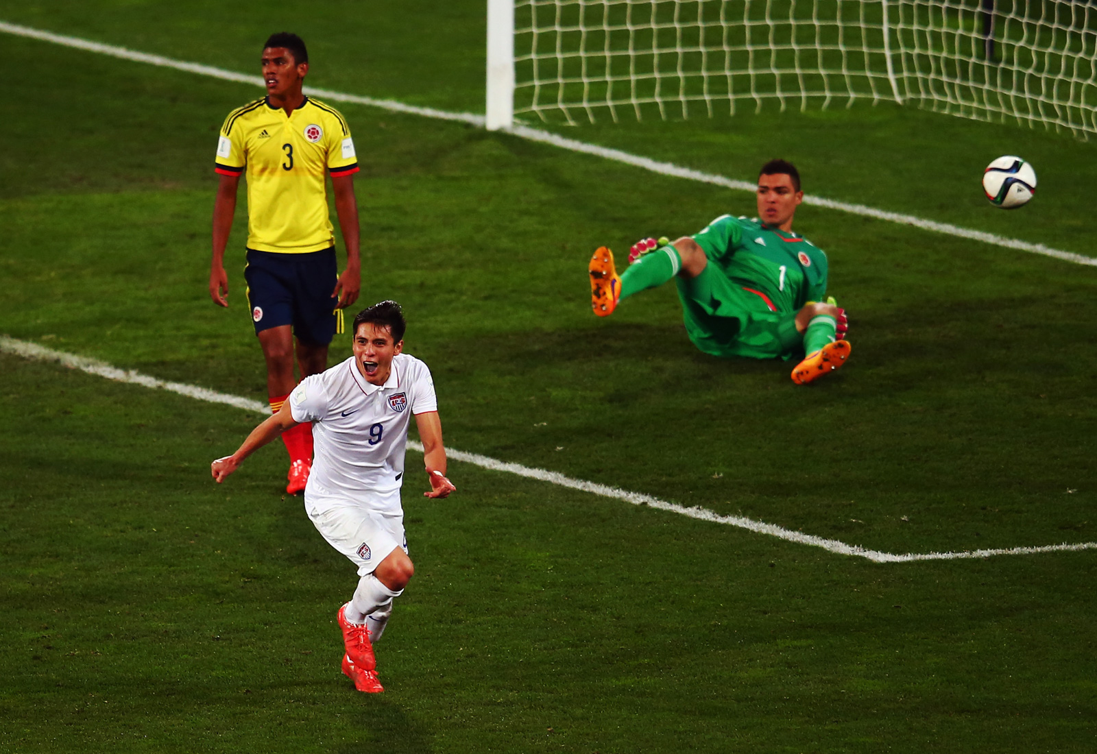 Rubio Rubin celebrates the goal that gives the USA a 1-0 win over Colombia in the FIFA U-20 World Cup round of 16. Zack Steffen's late penalty save preserved the win, as the Americans reached the quarterfinals for the first time since 2007.