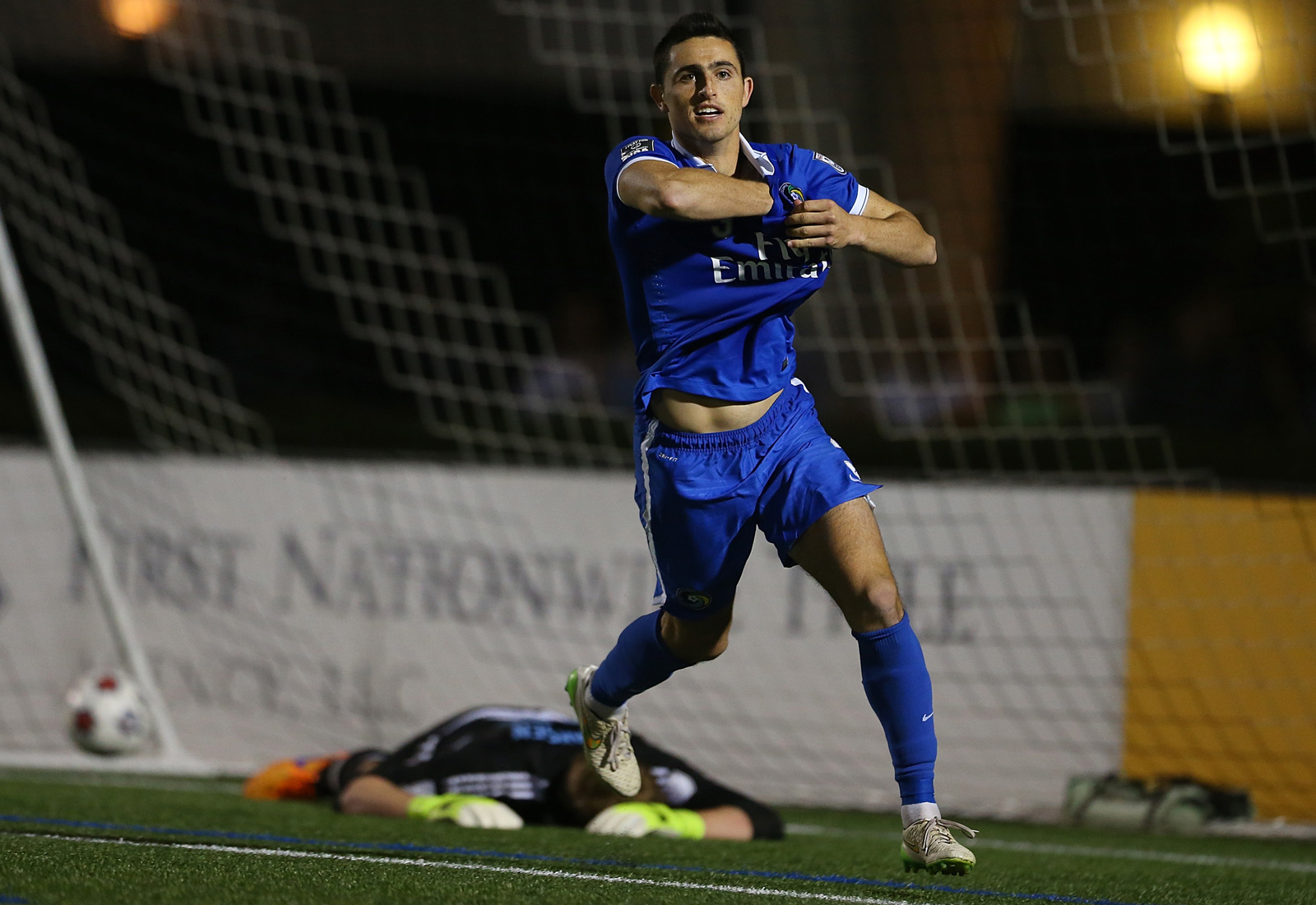 New York Cosmos' Hunter Gorskie celebrates after scoring the decisive penalty kick to send the NASL side by NYCFC in the U.S. Open Cup.