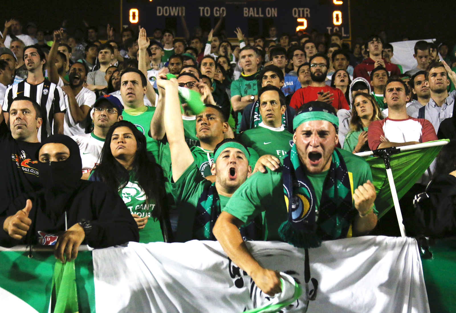 The New York Cosmos supporters section reacts to Lucky Mkosana's (77) equalizing goal in the 91st minute, which sent the game to extra time. The Cosmos would go on to beat NYCFC in penalties, 4-3, to set up a round-of-16 clash vs. the Red Bulls.