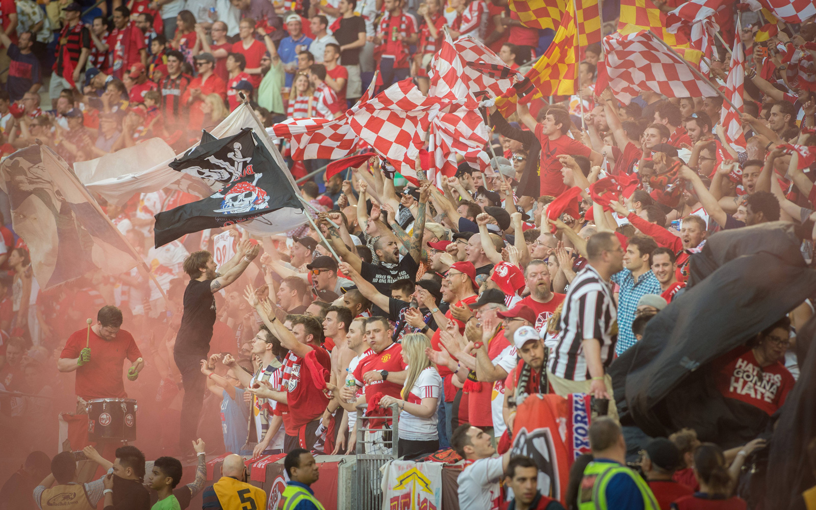 Red Bulls fans celebrate a goal from Bradley Wright-Phillips in the club's first match against NYCFC.