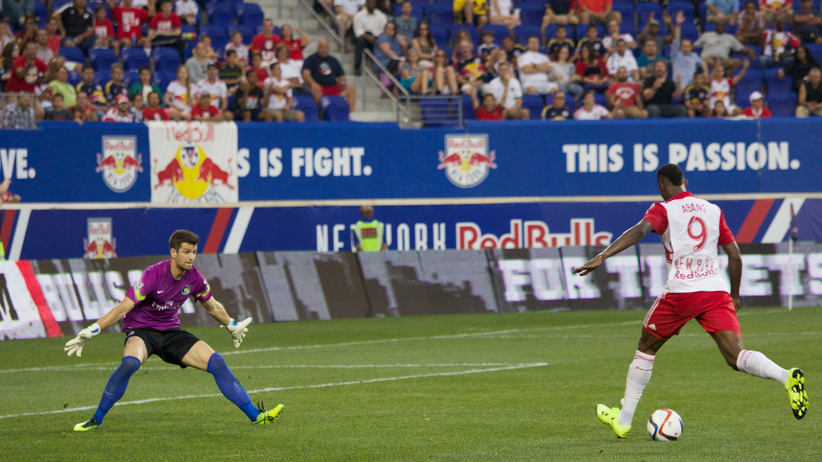 New York Red Bulls striker Anatole Abang (9) goes 1-on-1 against New York Cosmos goalkeeper Jimmy Maurer (1) in the first half of their U.S. Open Cup fifth-round match.