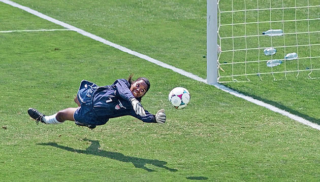 Briana Scurry's lunging save against Ying Liu in penalty kicks set the stage for Brandi Chastain's heroics.