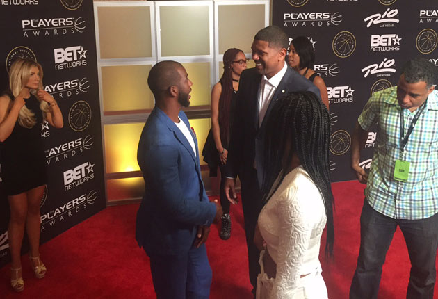 Chris Paul and ESPN's Jalen Rose chat before the show.